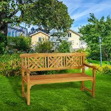 3 seater acacia garden patio bench with arms outdoor wooden garden