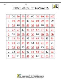 number square worksheets