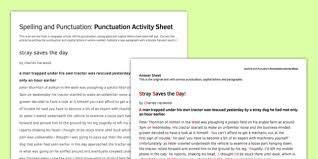punctuation correction activity sheet spelling punctuation