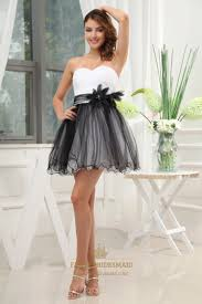 black and white short prom dresses 2016 strapless tulle cocktail