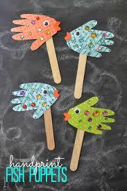 handprint fish puppets kid craft glued to my crafts