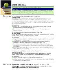 Sample Resume Format For Teachers by Resume Examples For Teachers