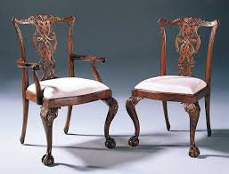 carved mahogany chippendale style dining chairs with cabriole leg