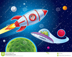 kids in rocket ship sees alien stock illustration image 91275465