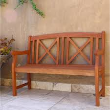 eucalyptus 2 seater wood patio bench v507 the home depot