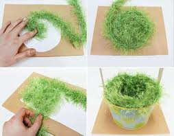 green paper easter grass easter decorations made with crafts knitting and crochet