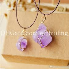 natural amethyst necklace images Wholesale raw genuine amethyst wire wrapped pendant natural jpg