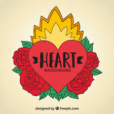 heart tattoo background with roses drawn by hand vector free