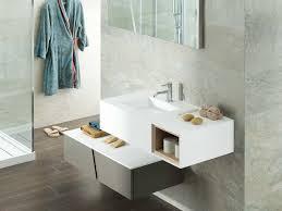 wall hung washbasin cabinet wood veneer contemporary