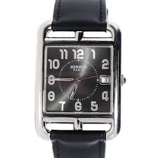 hermes barenia calfskin leather cape cod tgm 33mm watch noir black