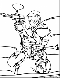 extraordinary coloring pages to print of paintball gun with sports