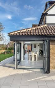 Patio Garden Doors by Rear Extension Sloped Roof Corner Opeining Inside Outside