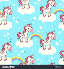 cute pics for background cute seamless pattern unicorn clouds star stock vector 220049791