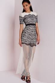 black lace overlay sheer mesh extension maxi dress