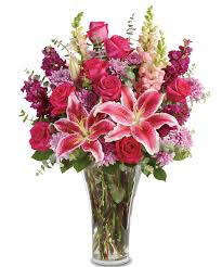 Roses And Lilies Bold And Beautiful Stargazer Lilies Red Roses Purple Stock