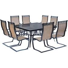 Glass Top Table Hanover Monaco 9 Piece Aluminum Outdoor Dining Set With Square