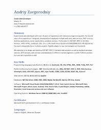 resume format for 1 year experience dot net developer fresh job