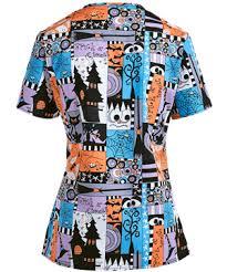 zoe chloe spooky halloween print scrub top holiday scrubs