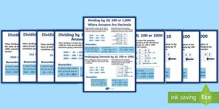 multiplying and dividing decimals by 10 100 and 1000 display