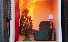 a christmas tree fire can engulf a room in minutes demo shows