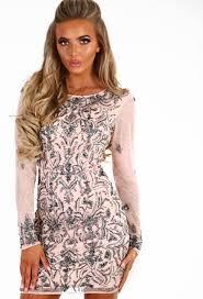 premium chique lifestyle embellished long sleeve mini dress