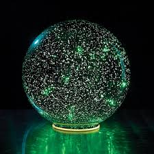 mercury glass sphere 8 or 5 lighted in green battery
