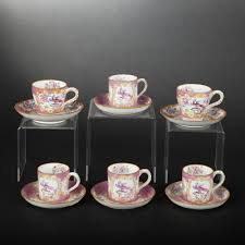 Porcelain Coffee Mugs by England Minton Six Porcelain Coffee Cups Four Being Litron Cups