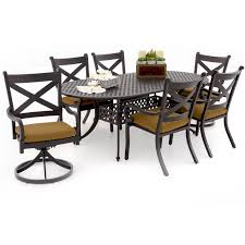 Cast Aluminum Patio Chairs 7 Piece Patio Dining Set With Swivel Chairs Patio Decoration