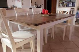 butcher block kitchen table natural and white dining table made of butcher block oak and white