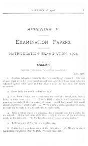 quote definition noun appendix f examination papers matriculation examination 1908