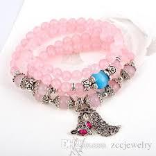 rose stone bracelet images 2018 natural crystal rose quartz stone bracelet opal fox charm jpg