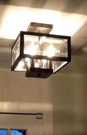 4 Light Ceiling Fixture Kichler Barrington 14 02 In W Distressed Black And Wood Clear