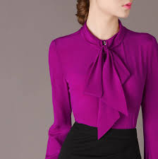 purple blouses free shipping 2015 fall bow collar sleeve