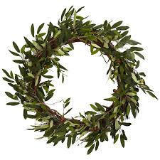 nearly 4773 olive wreath 20 inch green home