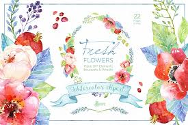 fresh flowers fresh flowers watercolor pack illustrations creative market