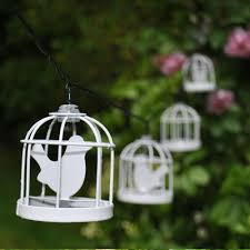 Bird Solar Lights by 10 Led Solar White Metal Bird Cage Lantern String Fairy Light