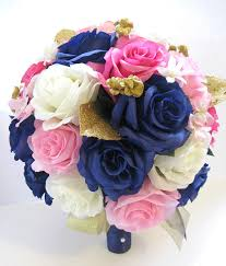 silk flowers wedding silk flowers bridal bouquet hot pink navy light pink