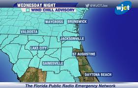Map Of Northeast Florida by Freeze Warnings And Wind Chills Advisories Tonight For Northeast