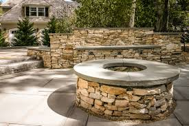 Patio Stone Pictures by Blue Stone Patio And Firepit With South Bay Stone Walls