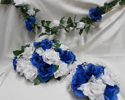 white blue roses your colors roya blue white roses wedding bridal centerpieces
