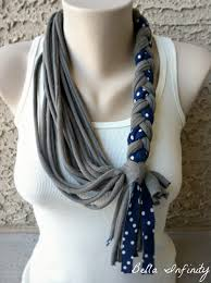 braided scarf infinity braided scarf jersey fabric grey upcycled tshirts