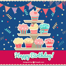 happy birthday card with cupcakes vector free download