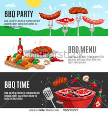 cuisine outdoor bbq banners set summer outdoor background เวกเตอร สต อก 562270225