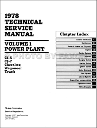 1978 jeep repair shop manual reprint all models 3 volume set