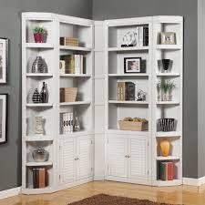 furniture large white corner bookshelves with cabinet shutter