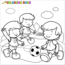 coloring book soccer kids stock vector image 45548217