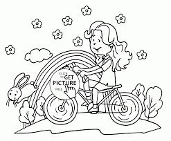 riding bike in spring coloring page for kids seasons coloring