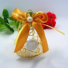 wedding candy boxes wholesale new wedding favor boxes gold metal bell birdcage shaped with silk