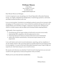 Samples Of A Resume For Job by Leading Professional Payroll Specialist Cover Letter Examples