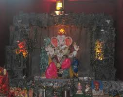 Home Temple Decoration Ideas Ganpati Decoration Ideas At Home Ganesh Statue Pinterest